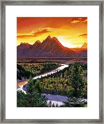 Sunset Over The Grand Tetons Framed Print by David Lloyd Glover