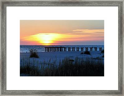 Sunset Over The Gulf Of Mexico Framed Print by Steven Scott