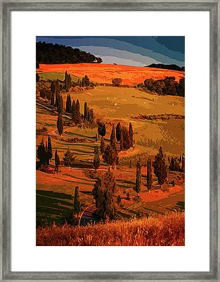 Sunset Over The Hills Of Tuscany Framed Print