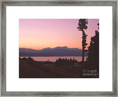 Sunset Over The Hood Canal In Washington State Framed Print