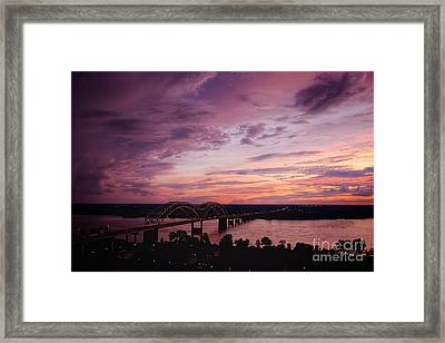 Framed Print featuring the photograph Sunset Over The I40 Bridge In Memphis Tennessee  by T Lowry Wilson