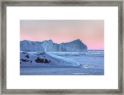 sunset over the Icefjord - Greenland Framed Print by Joana Kruse
