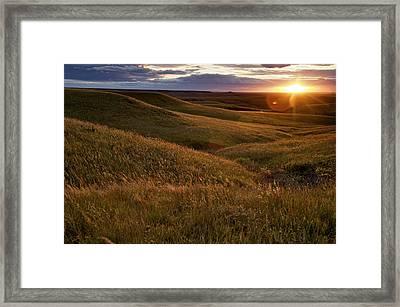 Sunset Over The Kansas Prairie Framed Print