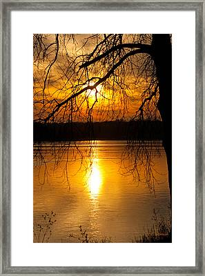 Sunset Over The Lake Framed Print