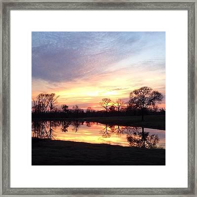Sunset On The Lake Framed Print by Jen McKnight