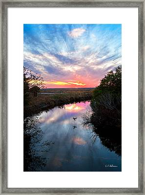 Sunset Over The Marsh Framed Print