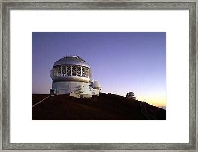 Sunset Over The Mauna Kea Observatories On Kona Framed Print by Amy McDaniel