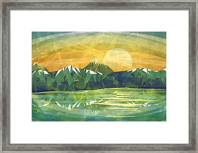 Sunset Over The Mountain  Framed Print