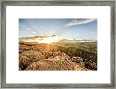 Sunset Over The Mountains Of Flaggstaff Road In Boulder, Colorad Framed Print by Peter Ciro