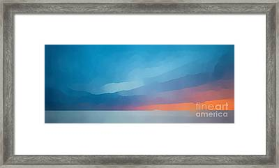 Sunset Over The Ocean Framed Print by Edward Fielding