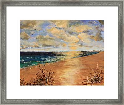 Sunset Over The Ocean Framed Print by Rich Donadio