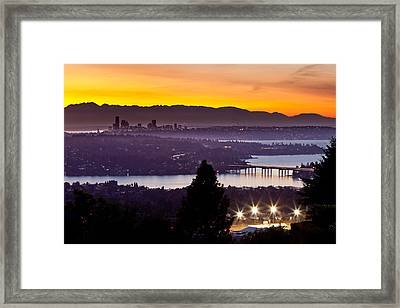 Sunset Over The Olympics Framed Print by Thorsten Scheuermann