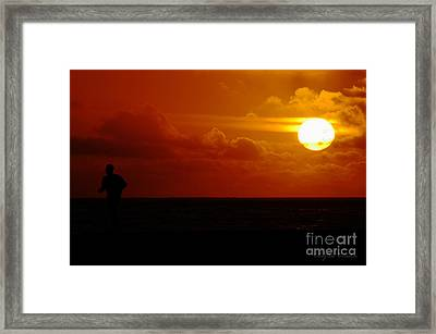 Sunset Over The Pacific Framed Print by Clayton Bruster
