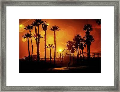 Sunset Over The Pier Framed Print