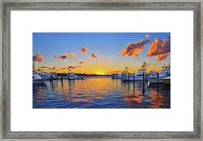 Sunset Over The Sailfish Marina In Riviera Beach Florida Framed Print