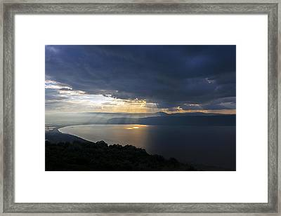 Sunset Over The Sea Of Galilee Framed Print