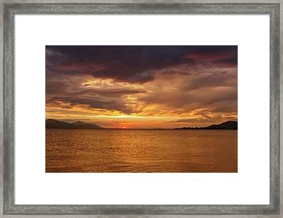 Sunset Over The Sea, Opuzen, Croatia Framed Print by Elenarts - Elena Duvernay photo