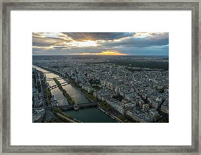 Sunset Over The Seine In Paris Framed Print by Mike Reid