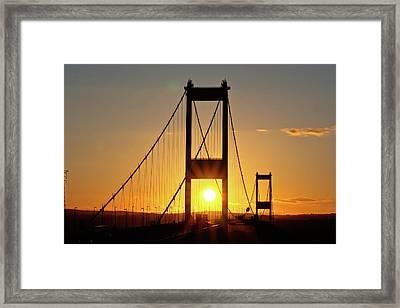 Sunset Over The Severn Framed Print by Brian Roscorla