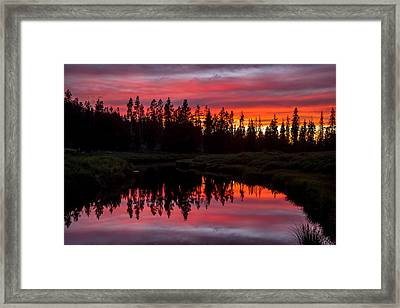Sunset Over The Stillwater Framed Print by TL  Mair