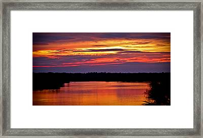 Sunset Over The Tomoka Framed Print by DigiArt Diaries by Vicky B Fuller