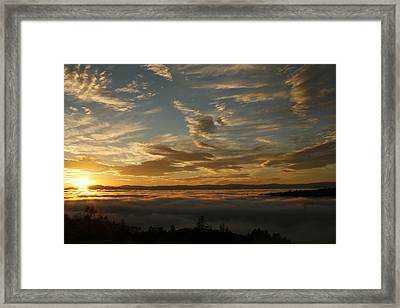 Sunset Over The Valley Fog Framed Print by Suzanne Lorenz