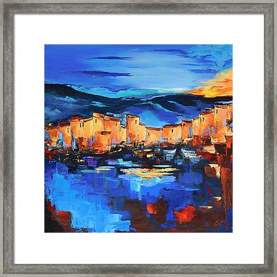 Sunset Over The Village 2 By Elise Palmigiani Framed Print by Elise Palmigiani