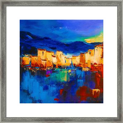 Sunset Over The Village Framed Print by Elise Palmigiani