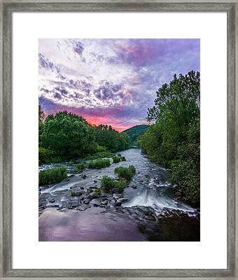 Sunset Over The Vistula In The Silesian Beskids Framed Print