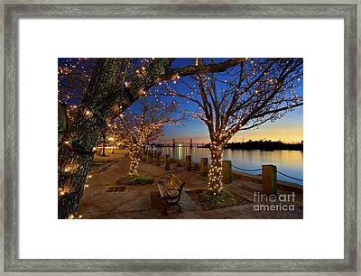 Sunset Over The Wilmington Waterfront In North Carolina, Usa Framed Print