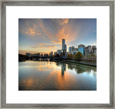 Sunset Over The Yarra River, Melbourne Framed Print by Sergio Amiti