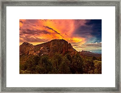 Sunset Over Timber Top Mountain Framed Print