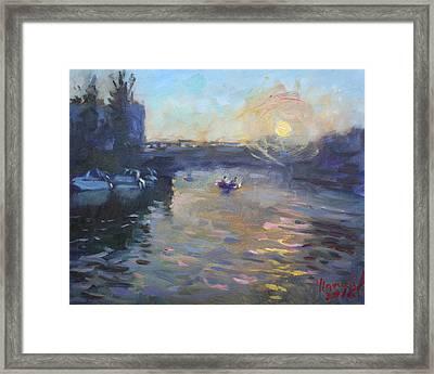 Sunset Over Tonawanda Canal  Framed Print