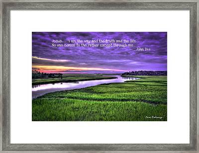 Sunset Over Turners Creek John 14 6 Framed Print by Reid Callaway