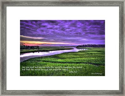 Sunset Over Turners Creek John 3 17 Framed Print by Reid Callaway