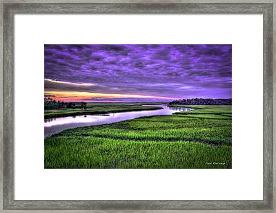 Framed Print featuring the photograph Sunset Over Turners Creek Savannah Tybee Island Ga by Reid Callaway