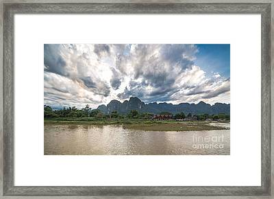 Sunset Over Vang Vieng River In Laos Framed Print