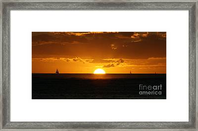 Sunset Over Waikiki Framed Print by Angela DiPietro