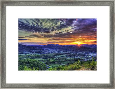 Sunset Over Wears Valley Tennessee Mountain Art Framed Print by Reid Callaway
