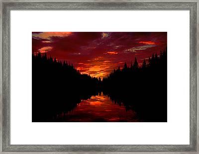 Sunset Over Wetlands Framed Print