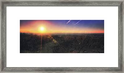 Sunset Over Wisconsin Treetops At Lapham Peak  Framed Print by Jennifer Rondinelli Reilly - Fine Art Photography