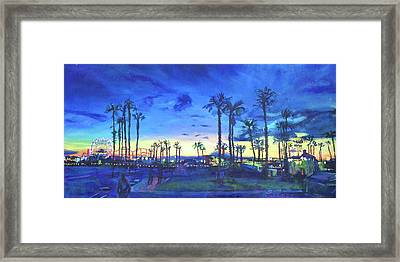 Sunset Palms Santa Monica Framed Print by Bonnie Lambert