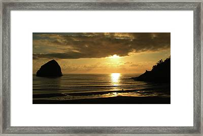 Sunset Panorama Haystack Rock Framed Print