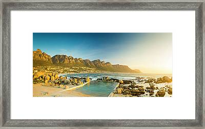 Sunset Panorama Of Camps Bay In South Africa Framed Print by Tim Hester