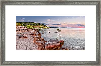 Sunset Panorama Of Canyon Lake East Shore New Braunfels Guadalupe River Texas Hill Country Framed Print by Silvio Ligutti