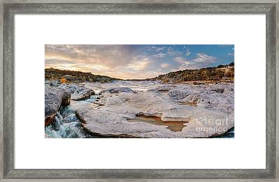 Sunset Panorama Of The Pedernales River At Pedernales Falls State Park - Jonhson City Hill Country Framed Print by Silvio Ligutti
