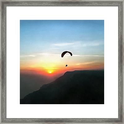 Sunset Paraglide Framed Print
