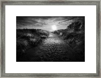 Sunset Path - Bw Framed Print by Marvin Spates