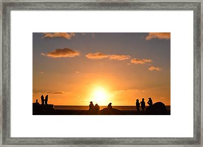 Sunset People In Imperial Beach Framed Print