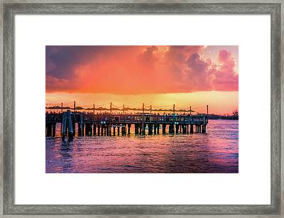 Sunset Pier At Mallory Square  Framed Print